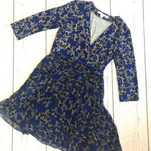 Diane von Furstenberg Dress Silk Blue Star Wrap 10